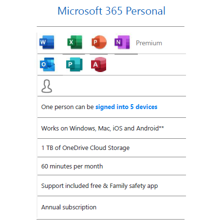 Microsoft 365 Personal - 1YR